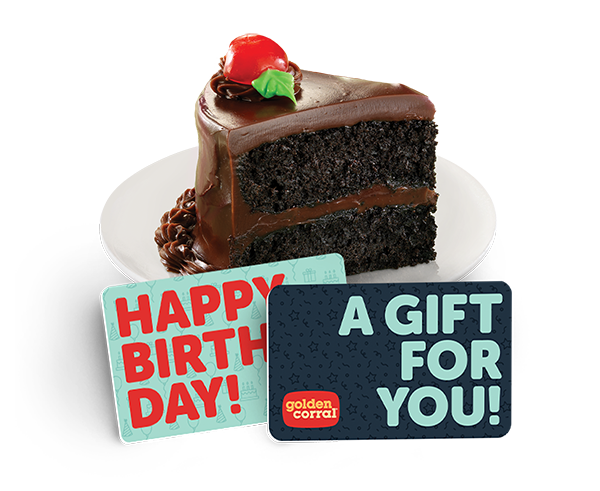 Chocolate cake with two Golden Corral gift cards